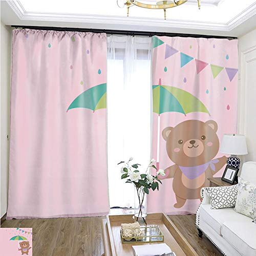 Cartoon Curtain Series Cute Teddy Bear Vector Illustration for Baby Shower Invitation Card Design template1 W96 x L300 Comfortable Space Curtain Highprecision Curtains for bedrooms Living Rooms k