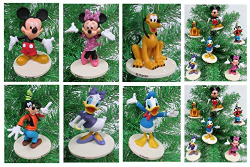 Disney MICKEY MOUSE 6 Piece Ornament Set Featuring Mickey Mouse, Minnie Mouse, Donald Duck, Daisy Duck, Goofy and Pluto, Ornaments Average 2.5