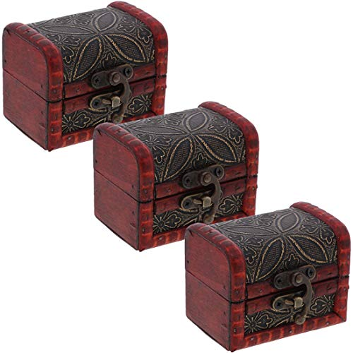 - SandT Collection Set of Three 3 Inch Wooden Keepsake Treasure Chest Trinket Box - Flower
