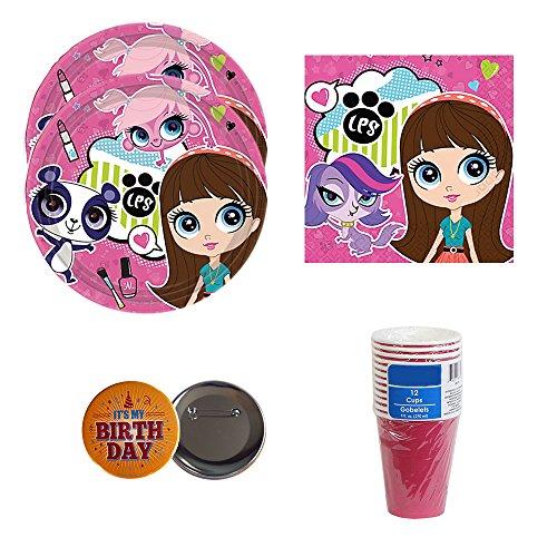 Littlest Pet Shop Party Pack for 12-16 guests, plates, napkins, cups, bonus accessory (Littlest Pet Shop Birthday Supplies)