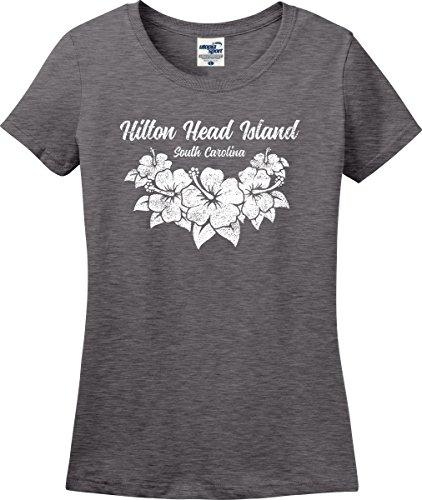 Hilton Head Island South Carolina Hibiscus Flowers Ladies T-Shirt (S-3X) (Ladies Large, Graphite (Palmetto Hilton Head)