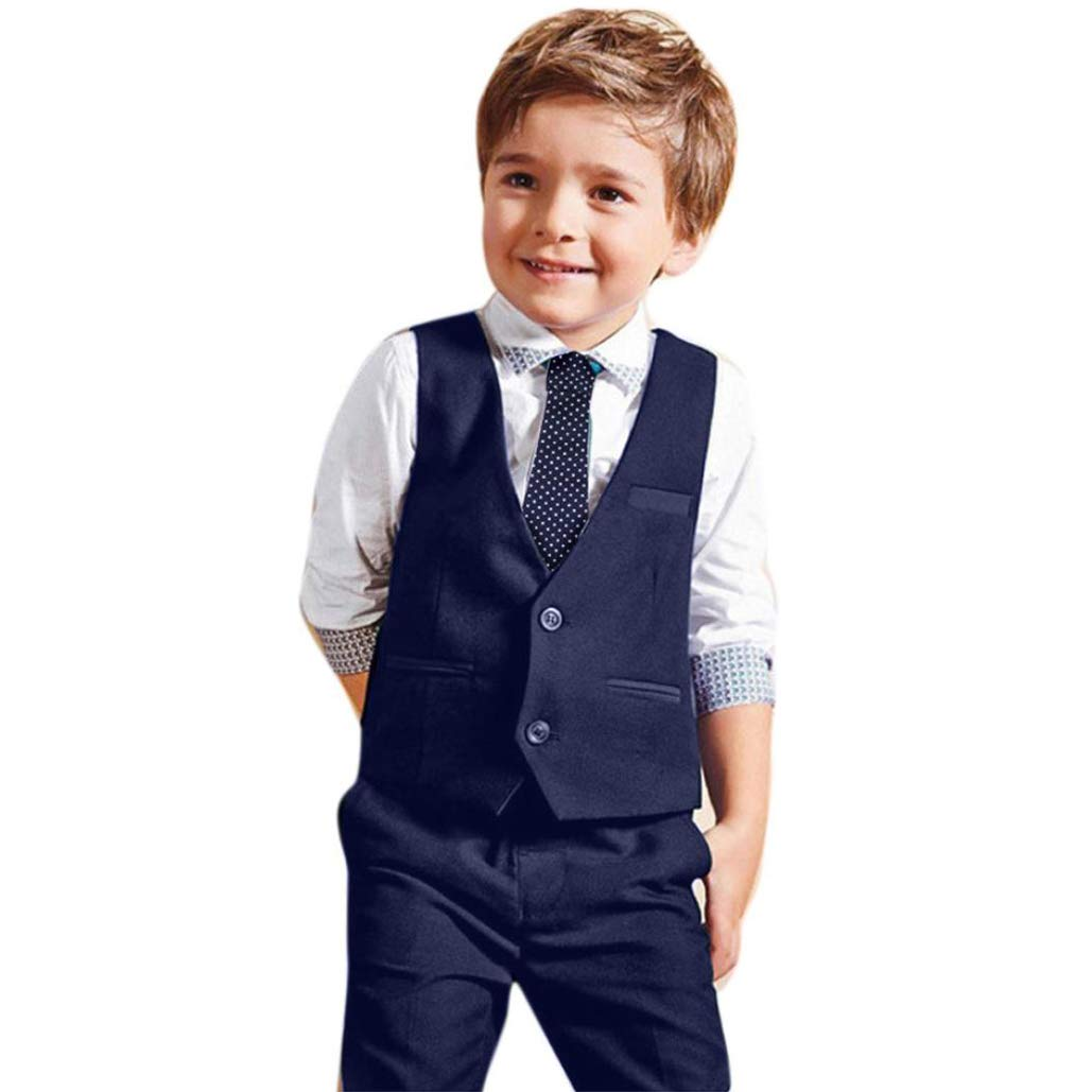 Handsome Little Boys Gentleman Overalls Wedding Tuxedo Suits White Shirts Waistcoat Pants Tie 4pcs Outfit Set Aritone BE-35