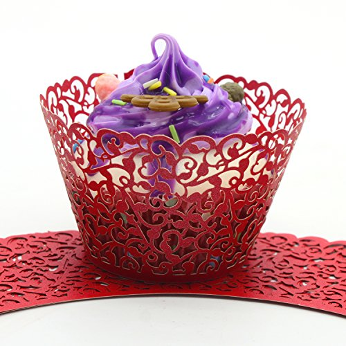 UNIQLED Filigree Artistic Bake Cake Paper Cups Little Vine Lace Laser Cut Liner Cupcake Wrappers Baking Cup Muffin Holder Case for Wedding Birthday Party Decoration (60, Red)]()