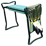 Folding Garden Kneeler Bench Set of 6pcs( Kit includes 3 Ergonomic Gardening Tools , Gloves , Tool Bag Pouch & 2 in 1 Seat / Stool & Arthritis Friendly Soft Kneeler with Handle )by GardeniaHOME&GARDEN