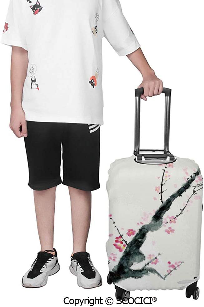 SCOCICI Travel Luggage Cover Suitcase Cover Branch of a Cherry Blossom Sakura Tree Bud and A Dragonfly Dramatic Artisan Suitcase Luggage Case Covers Fits 19-32 Inch