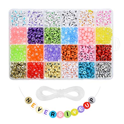 Roblue 1680PCS Letter Beads Colorful Alphabet Beads A-Z Acrylic Letter Beads for Jewelry Making Letter Beads for Bracelets Key Chains 4x7mm (Alphabet Beads Large)