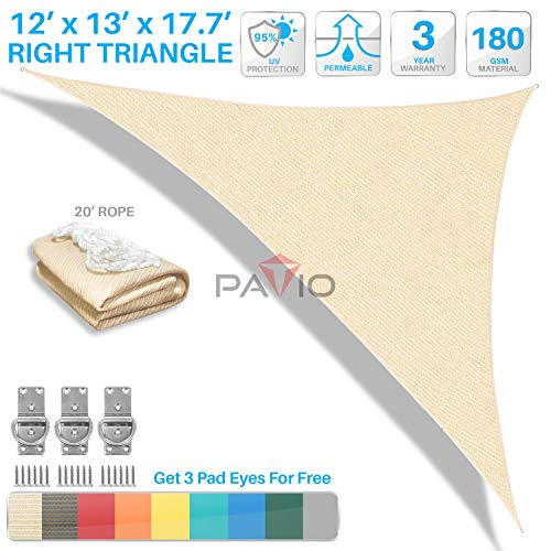 Patio Paradise 12 x 13 x 17.7 Beige Sun Shade Sail Right Triangle Canopy, Permeable UV Block Fabric Durable Outdoor, Customized Available