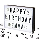 Cinematic Light Box (US Letter Size) with 100 Letters, Emoji, Smilies and Symbols - Personalize your own Message - Battery and USB Power