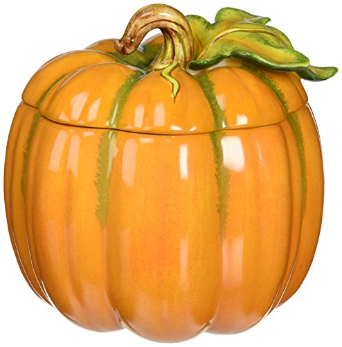 (Cosmos 10365 Fine Porcelain Light Off Lid Pumpkin Box, 6-1/8-Inch )