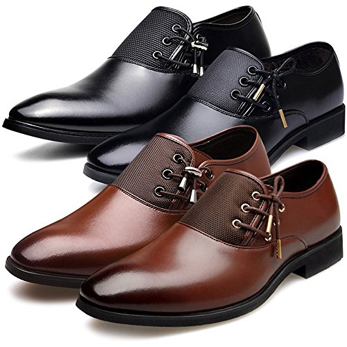 New 2018 Fashion Polyurethane Leather Dress Shoes for Men Formal Spring Pointed Toe Wedding Business Shoes Male with Lace (Men's 8.5 = Women's 9.5 / EU 42, Brown Gold Lace) by Jacky's Oxfords Shoes (Image #7)