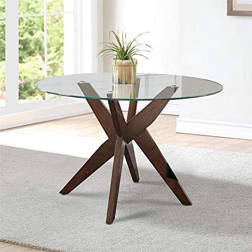 "Steve Silver Amalie 48"" Round Glass Top Dining Table"