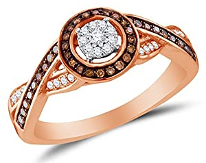 Size 7 - 10K Rose Gold Chocolate Brown & White Round Diamond Halo Circle Engagement Ring - Prong Set Flower Center Setting Shape (1/4 cttw.)