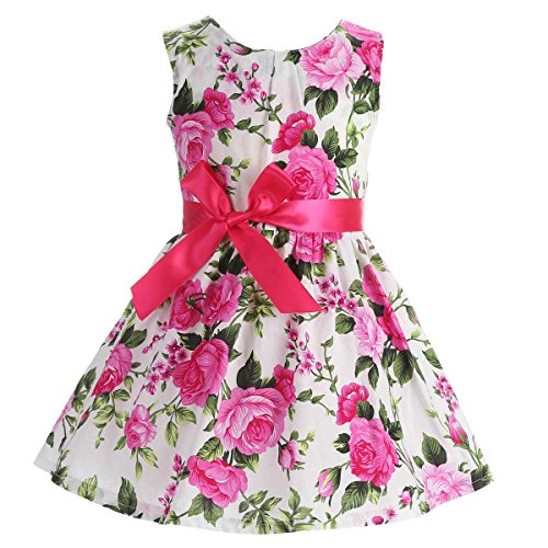 Fubin Kid Girl Floral Cotton Dresses Summer Clothes white Height 57''/7-8 years (White Dress For Teenager)