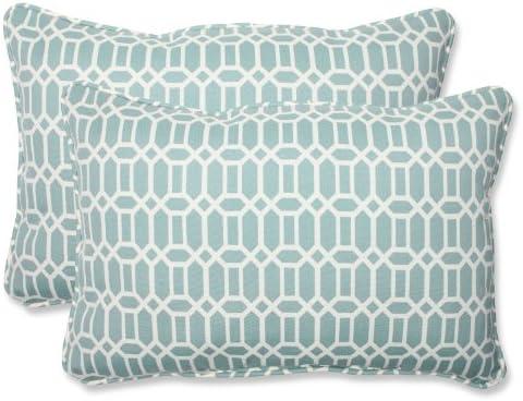 Pillow Perfect Outdoor Indoor Rhodes Quartz Oversized Lumbar Pillows, 24.5 x 16.5 , Blue, 2 Pack