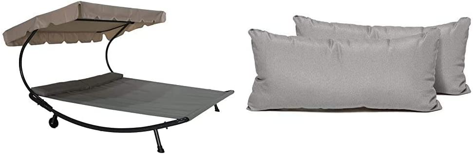 Abba Patio Outdoor Portable Double Chaise Lounge Hammock Bed with Sun Shade and Wheels, Grey & TK Classics PILLOW-GREY-R-2x Rectangle Outdoor Throw Pillows, Set of 2, Grey