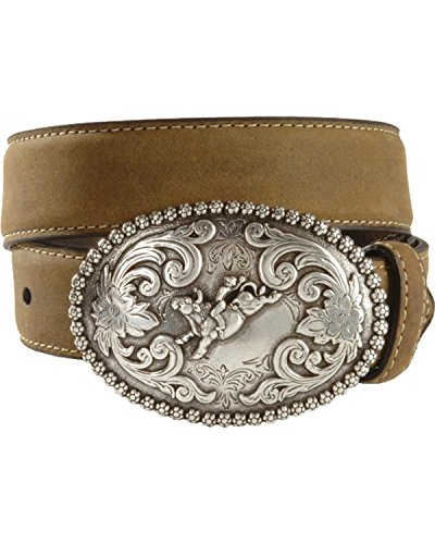 Nocona Boys' Bull Rider Buckle Distressed Leather Belt Brown (Bull Rider Buckle)