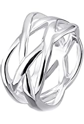 """BOHG Jewelry Womens 925 Sterling Silver Plated Fashion Double """"X"""" Criss Cross Eternity Ring Wedding Band"""