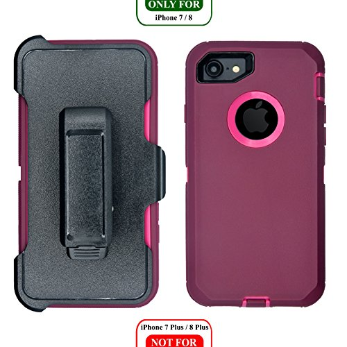AlphaCell, iPhone 7/8 Cover (NOT Plus) | 2-in-1 Screen Protector & Holster Case | Full Body Military Grade Protection with Carrying Belt Clip | Drop Proof Shockproof Protective | Burgundy/Pink