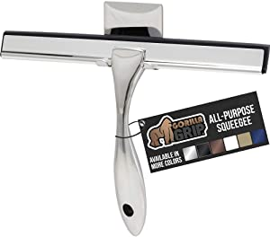 Gorilla Grip All Purpose Shower and Window Squeegee, Stainless Steel, Streak Free Shine, Cleaner for Bathroom Showers Glass Doors, Home Mirrors, Car Windows Wiper, Adhesive Holder, 10 Inch, Silver