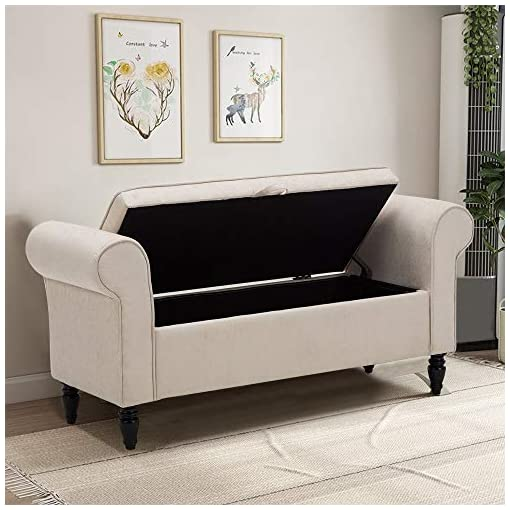 Entryway Storage Bench with Arms Upholstered Settee Bench for Bedroom Living Room Entryway Ivory