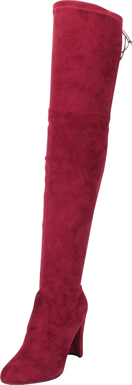 Burgundy Imsu Cambridge Select Women's Thigh-High Drawstring Tie High Heel Over The Knee Boot