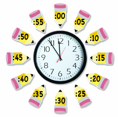 Eureka 'Telling Time' Bulletin Board Analog Clock Practice, 4pc, 17'' W x 24'' L -