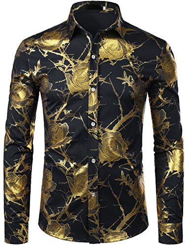 ZEROYAA Men's 3D Gold Rose Design Slim Fit Long Sleeve Floral Print Dress Shirts/Prom Performing Shirts ZZCL15 Black Large