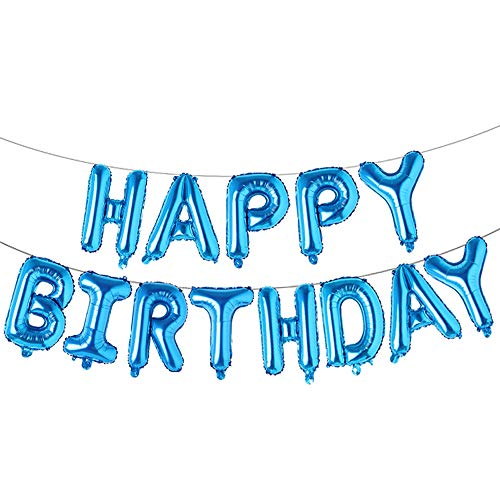 Happy Birthday Balloons, Aluminum Foil Banner Balloons for Birthday Party Decorations and Supplies (Blue)