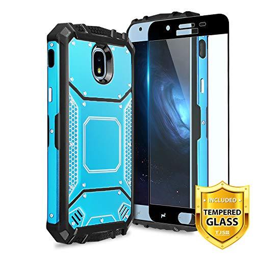 TJS Galaxy J7 2018/J7 Refine/J7 Star/J7 Eon/J7 TOP/J7 Aero/J7 Crown/J7 Aura/J7 V 2nd Gen Case, with [Full Coverage Tempered Glass Screen Protector] Aluminum Military Metal Magnetic Support Case (Blue)