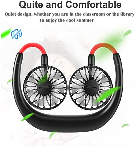 Portable Fan USB Rechargeable Mini Hand Free Personal Fan 2200mA 3 Adjustable Speed Wearable Neckband Fan for Camping Traveling Office Room Outdoor