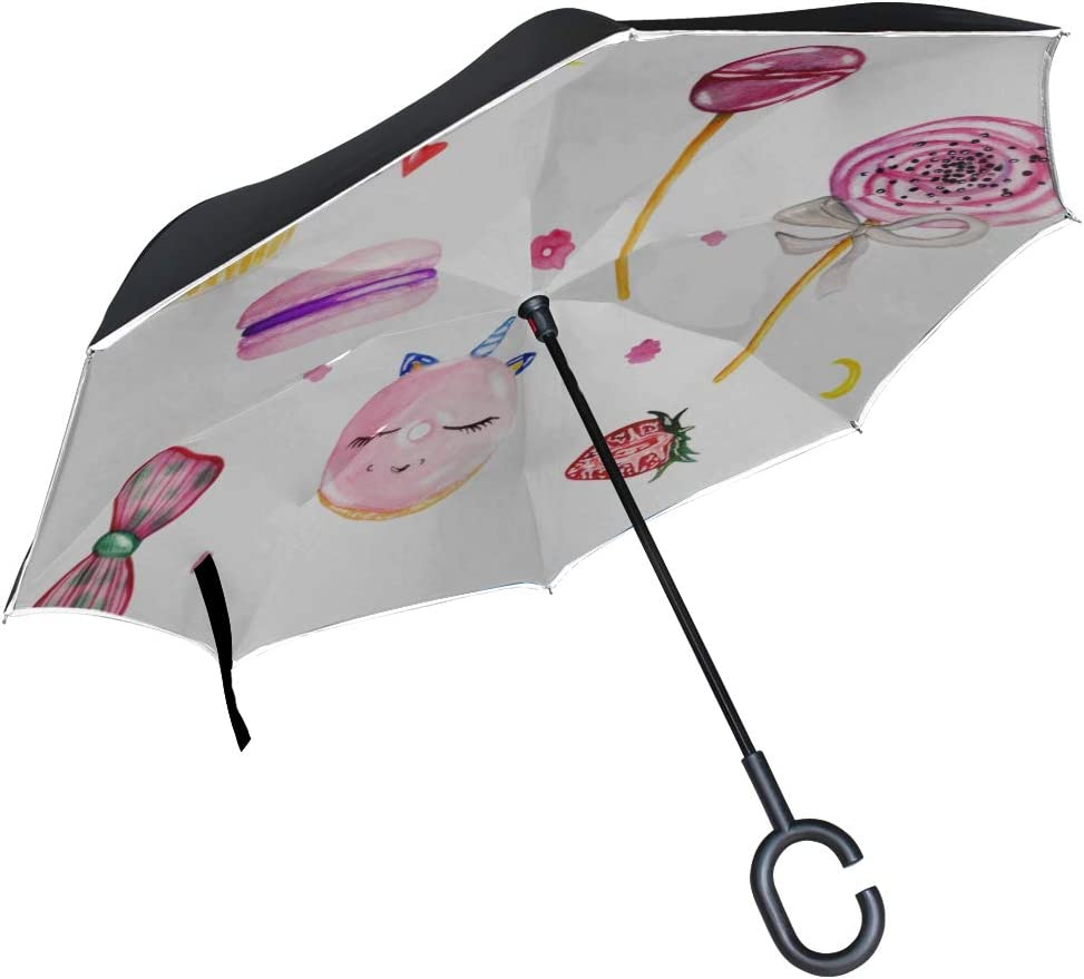 Double Layer Inverted Inverted Umbrella Is Light And Sturdy Set Pink Sweetsa Cake Donut Reverse Umbrella And Windproof Umbrella Edge Night Reflection