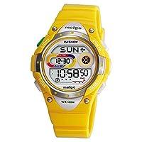 Pasnew LED Waterproof 100m Sports Digital Watch for Children Girls Boys (Yellow)