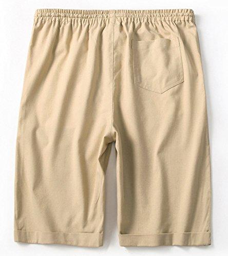 4965717200 IWOLLENCE Men's Linen Casual Classic Fit Short Summer Beach Shorts Beige ...
