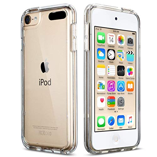 ULAK Soft TPU Bumper PC Back Hybrid Case for iPod Touch 7 / iPod Touch 6/ iPod Touch 5 - Retail Packaging - Clear Slim (Ipod Touch 5 Generation Cases)