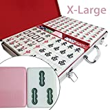 Traditional Chinese Mahjong Set, 144 Easy-To-Read X-Large Tiles, Pink Melamine Texture, package in Aluminum Case …
