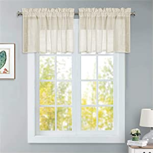 """RYB HOME Semi - Sheer Tiers Pleated Rod Pocket Top Design Neat Linen Pattern Window Dressing for Kitchen, Kids Room Short Drapes, Warm Beige, W 52"""" x L 18"""" Each Panel, Set of 2"""