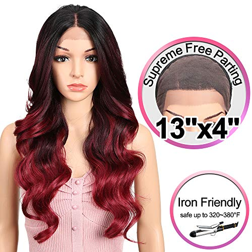JOEDIR 26 Big Curly Wavy Supreme Free Parting Lace Frontal Wigs With Baby Hair High Temperature Synthetic Wigs For Black Women 180% Density Ombre Color Wigs 230g(GT1B/530D/118)