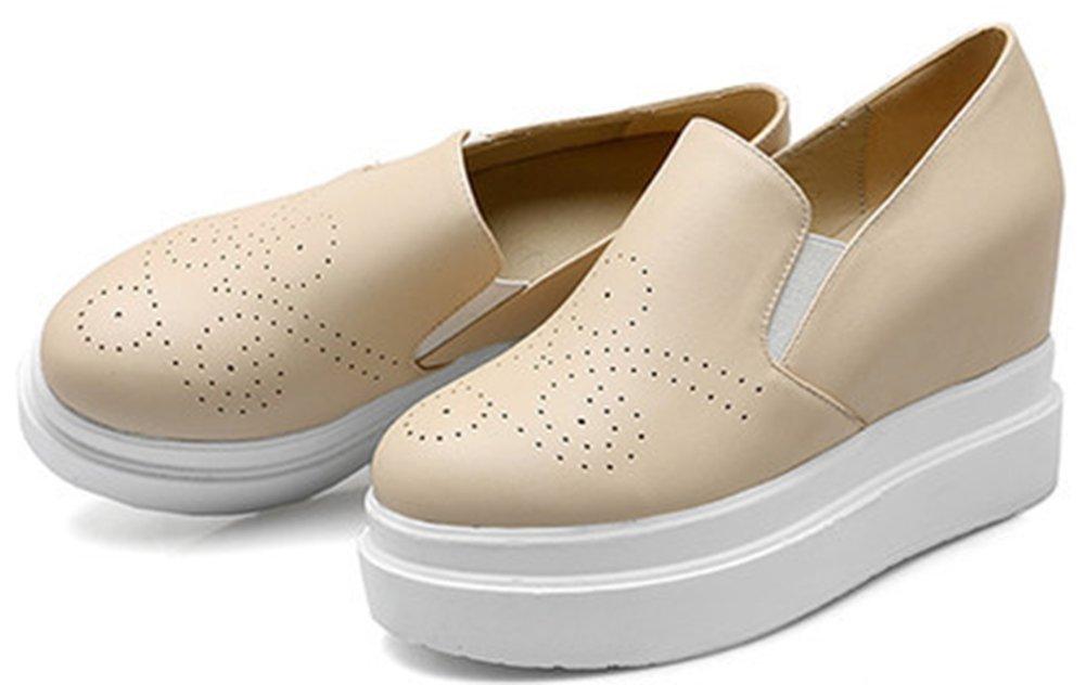 IDIFU Women's Dressy High Heel Wedge Heighten Platform Sneakers Slip On Round Toe Elastic Loafers Beige 8 B(M) US