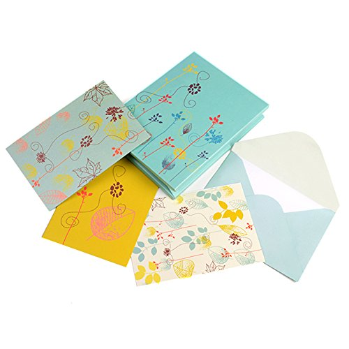 Set of 12 Floral Printed Notecards, Best Gift for Mother's Day, Ideal Gift for Mom, Thank you Notecards, Notecards for all Occasions (Glee Paper)