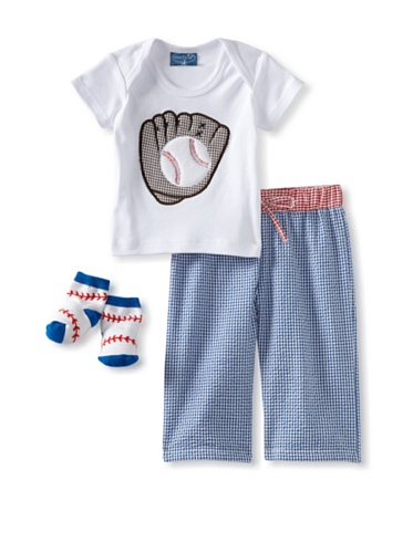 Mud Pie Newborn Baby-Boys Short Sleeve Baseball 3 Piece Set, Blue/red/white, 0-6 Months