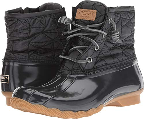 (SPERRY Women's Saltwater Nylon Quilt Rain Boot, Dark Grey, 6 M US)
