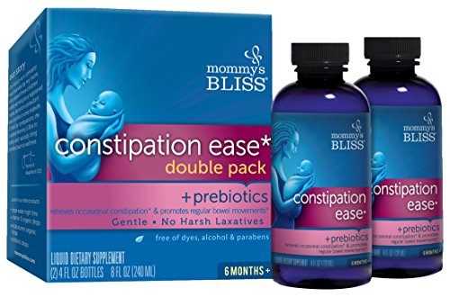 Mommys Bliss Constipation Ease + Prebiotics for Babys Tummy Troubles Relief - No Harsh Laxatives, Gentle Formula, Herbal Supplement - 4 Fl Oz (Pack of 2)