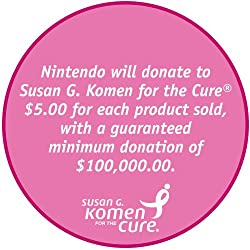 Nintendo will donate $5.00 to Susan G. Komen for the Cure for each Limited Edition Pink Ribbon DS Lite handheld gaming console sold, with a guaranteed minimum donation of $100,000.00.