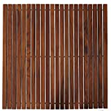 Bare Decor Fuji String Spa Shower Mat in Solid Teak Wood Oiled Finish. XL Square 30'' x 30''