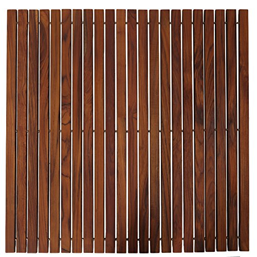 Bare Decor Fuji String Spa Shower Mat in Solid Teak Wood Oiled Finish. XL Square 30'' x 30'' by Bare Decor