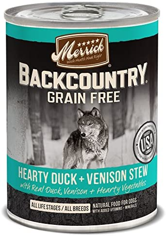 Merrick Backcountry Grain Free Wet Dog Food, 12.7 Oz, 12 Count Duck Venison Stew