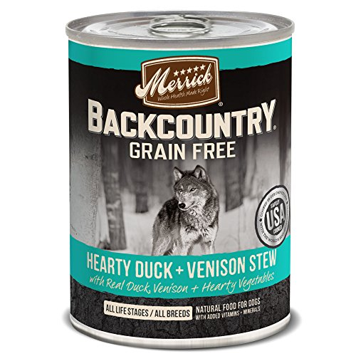 - Merrick Backcountry Hearty Duck & Venison Stew Grain Free Wet Dog Food, Case Of 12, 12.7 Oz.