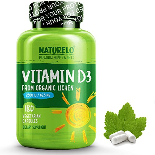 NATURELO Vitamin D – 2500 IU – From Organic Lichen – Best Natural D3 Supplement for Immune System, Bone Support, Joint Health – Whole Food – Vegan – Non-GMO – Gluten Free – High Potency – 180 Capsules