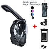 Vaporcombo Snorkel Mask 180° view for Adults and Youth. Full Face Free Breathing Design.[Free Bonuses] Cell Phone Waterproof Case (Dry Bag) and Folding Water Bottle