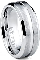 Men's Grooved Titanium Ring, Wedding Engagement Band, 8MM Comfort Fit Sizes 7 to 13
